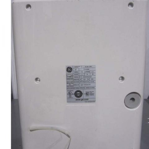 Back of GE Brand Dehumidifier by Midea