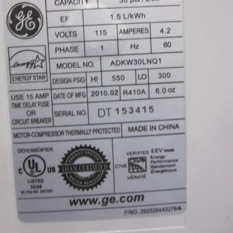 Model/Serial Number Label on the back of the GE Brand Dehumidfier by Midea