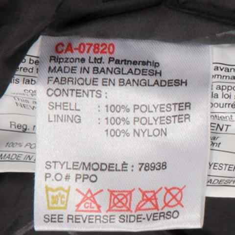 Style Number on Care Label of Hooligan Hooded Jacket