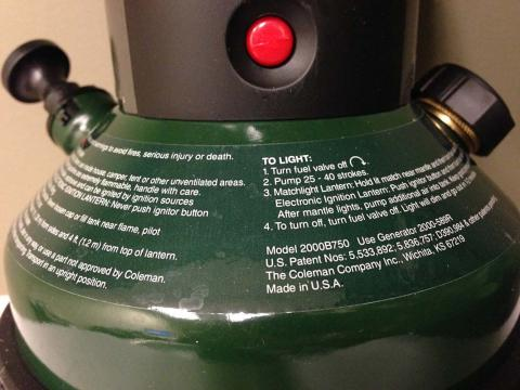 Coleman Northstar Lantern model number and lighting instructions location