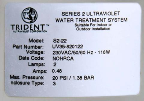 Label on Paramount Trident pool sanitation system