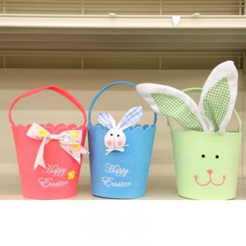 Blue, Green and Pink Felt Easter Baskets