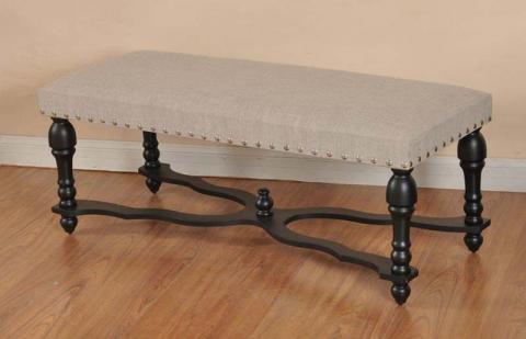 Recalled StyleCraft linen upholstered stretcher bench
