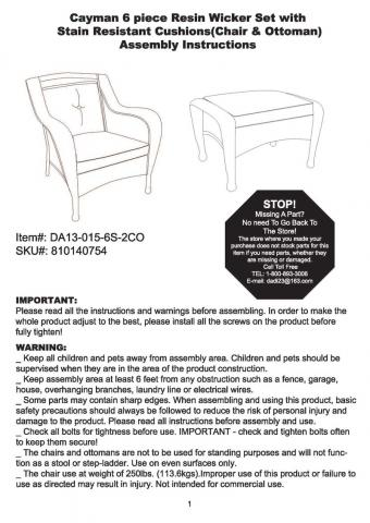 Instructions that show Item # and SKU#