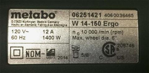 Rating plate on the Metabo Ergo series angle grinders