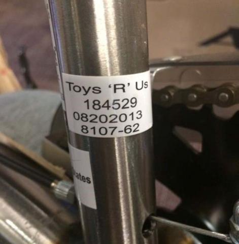 Label with Dynacraft Avigo bicycle model number 8107-62