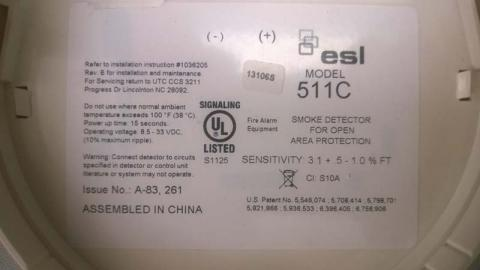 ESL, the date code and model are printed on a label on the back of the detector's cover.