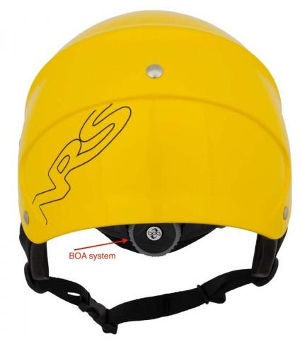 """NRS helmet back view with """"BOA"""" on the dial"""