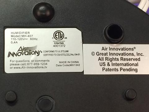 Identification Labels on Great Innovations Clean Mist Humidifier