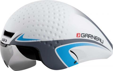 Louis Garneau P-09 aerodynamic bicycle helmet in white, blue and gray.