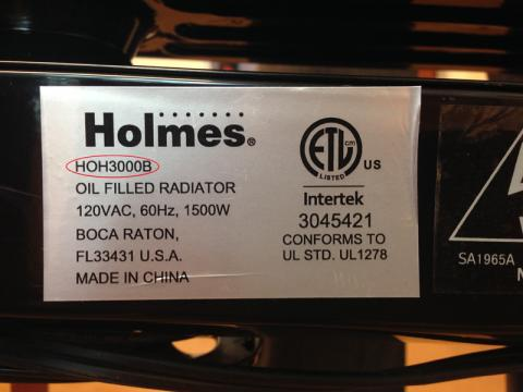 Holmes Oil-Filled Heater Model Number Location