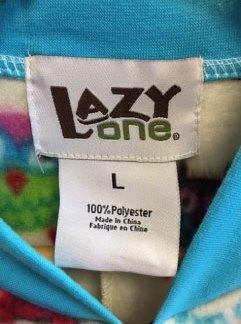 """Lazy One"", the size and ""Made in China"" are printed on the garments' neck label."