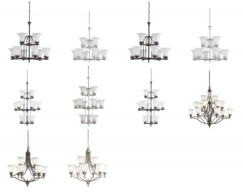 10 Versions of recalled Seagull Chandeliers. Please see chart in recall for full images of all lighting involved.