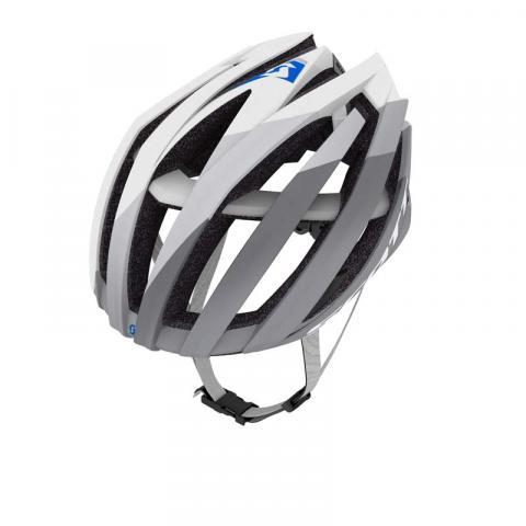 White and grey bicycle helmet