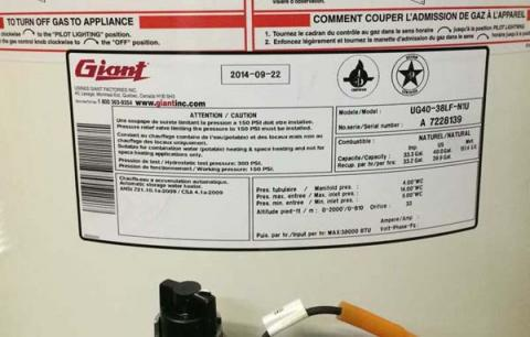 Giant UG Model Propane and Gas Water Heater Recall Data Tag