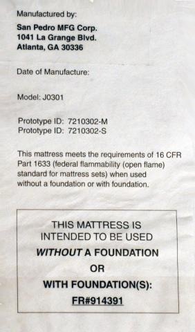 Federal label sewn onto mattress and foundation