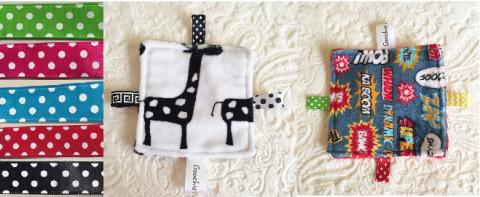 Samples of Sensory Grab Garbs Blanket with Colored Polka Dot Ribbon Tags
