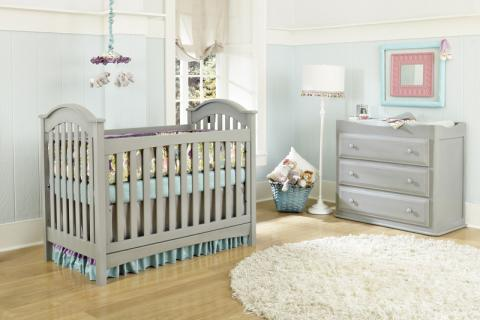 Baby's Dream Brie and Braxton Cribs and Heritage Single Dresser in Vintage Grey