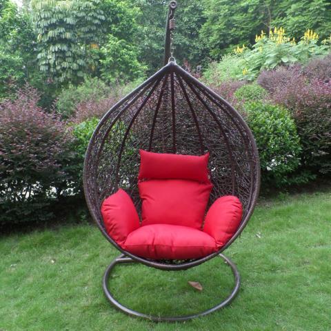 Brown teardrop-shaped swing chair