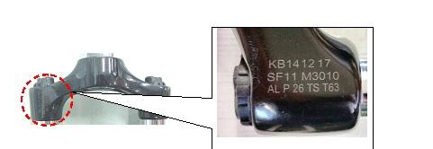 Location of bicycle fork's serial number, model name and model specs