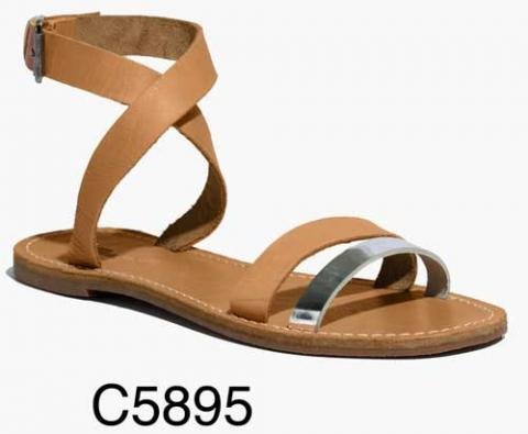 Sightseer Ankle-Wrap Sandal in Shiny Silver