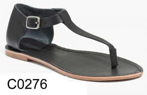 Sightseer T-Strap Thong Sandal in Black Leather