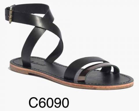 Sightseer Ankle-Wrap Sandal in Metallic Sand