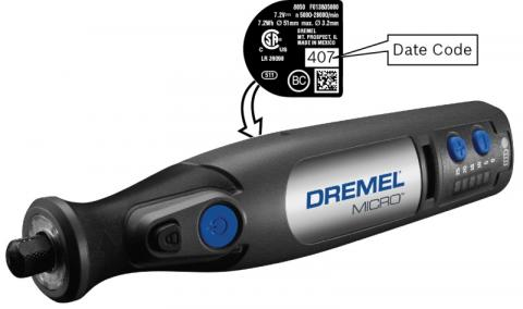 Dremel® MICRO™ Model 8050 Rotary Tool with location of model and date code
