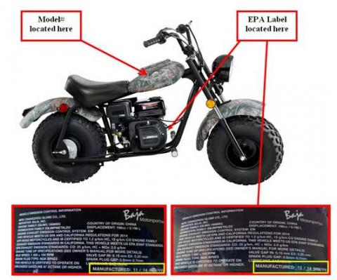 Baja Mini bikes with labels