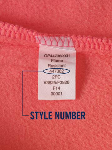 Style Number Location on Lands' End Children's Pajamas