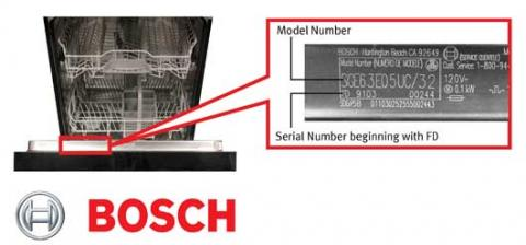 Bosch dishwasher model and serial number location
