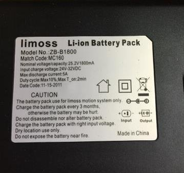Label on recalled Limoss AKKU-PACK battery power pack