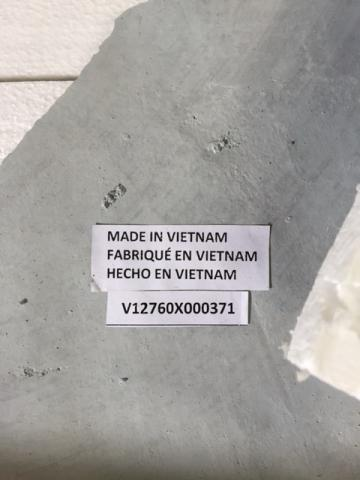 Serial Number on Underside of the Cement Tabletop