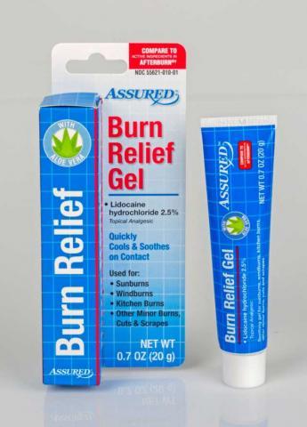 Gel para el alivio de quemaduras Assured (frente)