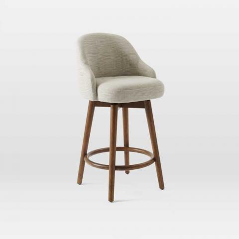 Saddle Counter Stool with Crosshatch Steel/Ivory Upholstery