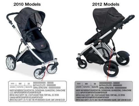 Ubicación de la etiqueta con la fecha de fabricación del coche para bebé B-Ready de Britax