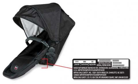 Britax Stroller Replacement top seat with date of manufacture sticker location