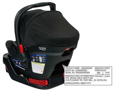Ubicación del número de modelo en las sillas de bebé para auto/portabebé B-Safe 35 y B-Safe 35 Elite