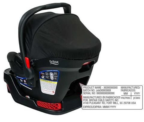 Location of model number on Britax B-Safe 35 and B-Safe 35 Elite Car Seat/Carriers
