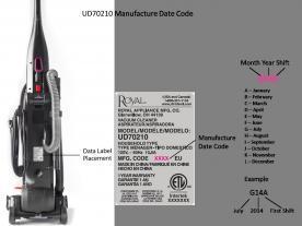 Dirt Devil Total Pet Cyclonic Upright vacuum manufacture date code