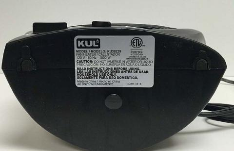 KUL Fan Heater Model Label