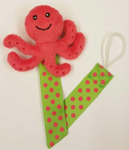 Little Wishes Summer Plush Pacifier Holder – Pink Octopus