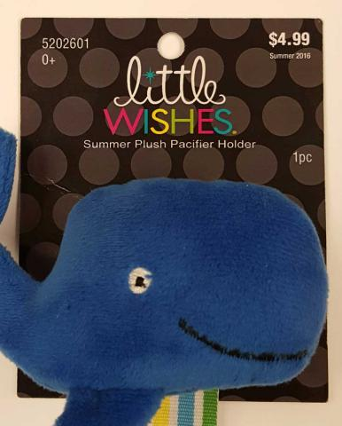 Little Wishes Summer Plush Pacifier Holder – Blue Whale Packaging