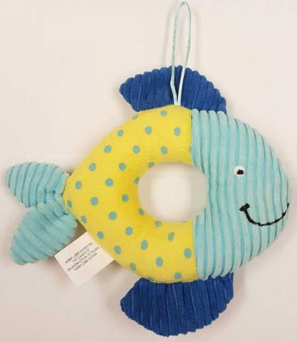 Little Wishes Chenille Stuffed Rattles -- Blue & Yellow Fish