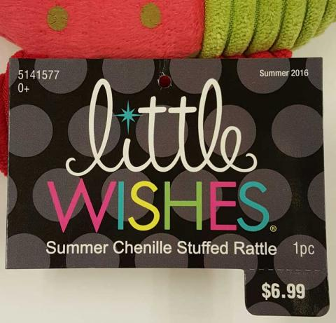 Little Wishes Chenille Stuffed Rattles Packaging