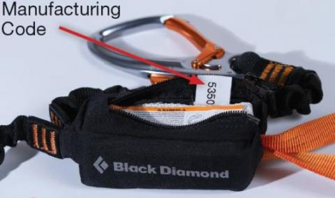 Location of manufacturing code on Black Diamond via ferrata set