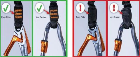 Orange safety stitching on Black Diamond Easy Rider and Iron Cruiser via ferrata set