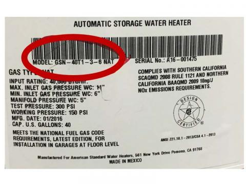American Standard GN and GSN Model Gas Water Heater Recall Data Tag
