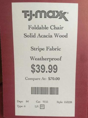 T.J. Maxx hang tag with style number