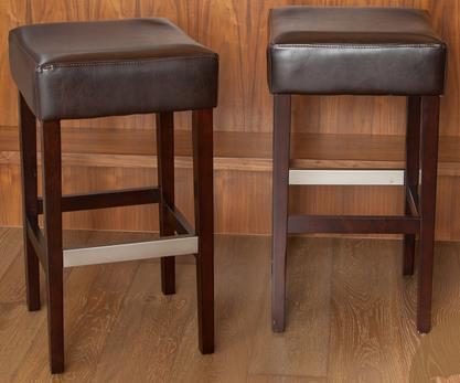 Tate Backless Leather Counter Stool – Brown